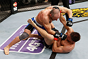 LONDON, ENGLAND - FEBRUARY 16:  (L-R) Stanislav Nedkov punches Tom Watson in their middleweight fight during the UFC on Fuel TV event on February 16, 2013 at Wembley Arena in London, England.  (Photo by Josh Hedges/Zuffa LLC/Zuffa LLC via Getty Images)