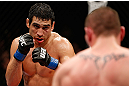 LONDON, ENGLAND - FEBRUARY 16:  (L-R) Danny Castillo squares off with Paul Sass in their lightweight fight during the UFC on Fuel TV event on February 16, 2013 at Wembley Arena in London, England.  (Photo by Josh Hedges/Zuffa LLC/Zuffa LLC via Getty Images)