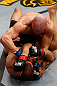 LONDON, ENGLAND - FEBRUARY 16:  (R-L) Ryan Jimmo punches James Te Huna in their light heavyweight fight during the UFC on Fuel TV event on February 16, 2013 at Wembley Arena in London, England.  (Photo by Josh Hedges/Zuffa LLC/Zuffa LLC via Getty Images)