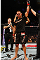 LONDON, ENGLAND - FEBRUARY 16:  James Te Huna reacts after defeating Ryan Jimmo in their light heavyweight fight during the UFC on Fuel TV event on February 16, 2013 at Wembley Arena in London, England.  (Photo by Josh Hedges/Zuffa LLC/Zuffa LLC via Getty Images)