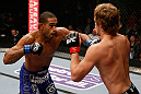 LONDON, ENGLAND - FEBRUARY 16:  (L-R) Jorge Santiago punches Gunnar Nelson in their welterweight fight during the UFC on Fuel TV event on February 16, 2013 at Wembley Arena in London, England.  (Photo by Josh Hedges/Zuffa LLC/Zuffa LLC via Getty Images)