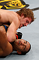 LONDON, ENGLAND - FEBRUARY 16:  (L-R) Gunnar Nelson elbows Jorge Santiago in their welterweight fight during the UFC on Fuel TV event on February 16, 2013 at Wembley Arena in London, England.  (Photo by Josh Hedges/Zuffa LLC/Zuffa LLC via Getty Images)
