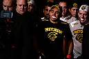 LONDON, ENGLAND - FEBRUARY 16:  Renan Barao enters the arena before his interim bantamweight title fight against Michael McDonald during the UFC on Fuel TV event on February 16, 2013 at Wembley Arena in London, England.  (Photo by Josh Hedges/Zuffa LLC/Zuffa LLC via Getty Images)