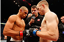 LONDON, ENGLAND - FEBRUARY 16:  (L-R) Opponents Renan Barao and Michael McDonald face off before their interim bantamweight title fight during the UFC on Fuel TV event on February 16, 2013 at Wembley Arena in London, England.  (Photo by Josh Hedges/Zuffa LLC/Zuffa LLC via Getty Images)