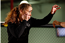 TORRANCE, CA - FEBRUARY 20:  Liz Carmouche conducts an open training session for fans and media at the UFC Gym on February 20, 2013 in Torrance, California.  (Photo by Josh Hedges/Zuffa LLC/Zuffa LLC via Getty Images)