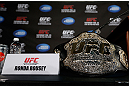 ANAHEIM, CA - FEBRUARY 21:  Ronda Rousey&#39;s UFC bantamweight championship belt is seen on a table before a UFC pre-fight press conference at Honda Center on February 21, 2013 in Anaheim, California.  (Photo by Josh Hedges/Zuffa LLC/Zuffa LLC via Getty Images)