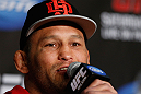 ANAHEIM, CA - FEBRUARY 21:  Dan Henderson interacts with media during a UFC pre-fight press conference at Honda Center on February 21, 2013 in Anaheim, California.  (Photo by Josh Hedges/Zuffa LLC/Zuffa LLC via Getty Images)