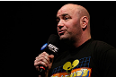 ANAHEIM, CA - FEBRUARY 22:  UFC President Dana White interacts with fans during a Q&A session before the UFC 157 weigh-in at Honda Center on February 22, 2013 in Anaheim, California.  (Photo by Josh Hedges/Zuffa LLC/Zuffa LLC via Getty Images)