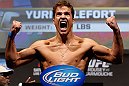 ANAHEIM, CA - FEBRUARY 22:  Yuri Villefort weighs in during the UFC 157 weigh-in at Honda Center on February 22, 2013 in Anaheim, California.  (Photo by Josh Hedges/Zuffa LLC/Zuffa LLC via Getty Images)