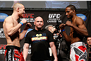 ANAHEIM, CA - FEBRUARY 22:  (L-R) Opponents Jon Manley and Neil Magny face off during the UFC 157 weigh-in at Honda Center on February 22, 2013 in Anaheim, California.  (Photo by Josh Hedges/Zuffa LLC/Zuffa LLC via Getty Images)