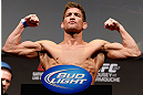 ANAHEIM, CA - FEBRUARY 22:  Sam Stout weighs in during the UFC 157 weigh-in at Honda Center on February 22, 2013 in Anaheim, California.  (Photo by Josh Hedges/Zuffa LLC/Zuffa LLC via Getty Images)