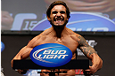 ANAHEIM, CA - FEBRUARY 22:  Dennis Bermudez weighs in during the UFC 157 weigh-in at Honda Center on February 22, 2013 in Anaheim, California.  (Photo by Josh Hedges/Zuffa LLC/Zuffa LLC via Getty Images)