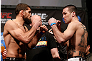 ANAHEIM, CA - FEBRUARY 22:  (L-R) Opponents Court McGee and Josh Neer face off during the UFC 157 weigh-in at Honda Center on February 22, 2013 in Anaheim, California.  (Photo by Josh Hedges/Zuffa LLC/Zuffa LLC via Getty Images)