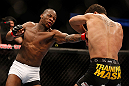 ANAHEIM, CA - FEBRUARY 23:  (L-R) Nah-Shon Burrell punches Yuri Villefort in their welterweight bout during UFC 157 at Honda Center on February 23, 2013 in Anaheim, California.  (Photo by Josh Hedges/Zuffa LLC/Zuffa LLC via Getty Images) *** Local Caption *** Nah-Shon Burrell; Yuri Villefort