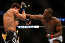 ANAHEIM, CA - FEBRUARY 23:  (R-L) Nah-Shon Burrell punches Yuri Villefort in their welterweight bout during UFC 157 at Honda Center on February 23, 2013 in Anaheim, California.  (Photo by Josh Hedges/Zuffa LLC/Zuffa LLC via Getty Images) *** Local Caption *** Nah-Shon Burrell; Yuri Villefort