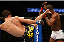ANAHEIM, CA - FEBRUARY 23:  (L-R) Yuri Villefort kicks Nah-Shon Burrell in their welterweight bout during UFC 157 at Honda Center on February 23, 2013 in Anaheim, California.  (Photo by Josh Hedges/Zuffa LLC/Zuffa LLC via Getty Images) *** Local Caption *** Nah-Shon Burrell; Yuri Villefort