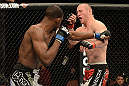 ANAHEIM, CA - FEBRUARY 23:  Neil Magny (left) punches Jon Manley in their welterweight bout during UFC 157 at Honda Center on February 23, 2013 in Anaheim, California.  (Photo by Donald Miralle/Zuffa LLC/Zuffa LLC via Getty Images) *** Local Caption *** Jon Manley; Neil Magny