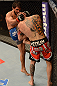 ANAHEIM, CA - FEBRUARY 23:  Dennis Bermudez (left) knees Matt Grice in their featherweight bout during UFC 157 at Honda Center on February 23, 2013 in Anaheim, California.  (Photo by Donald Miralle/Zuffa LLC/Zuffa LLC via Getty Images) *** Local Caption *** Dennis Bermudez; Matt Grice