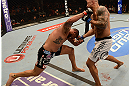 ANAHEIM, CA - FEBRUARY 23:  (L-R) Brendan Schaub punches Lavar Johnson in their heavyweight bout during UFC 157 at Honda Center on February 23, 2013 in Anaheim, California.  (Photo by Donald Miralle/Zuffa LLC/Zuffa LLC via Getty Images) *** Local Caption *** Brendan Schaub; Lavar Johnson