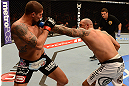 ANAHEIM, CA - FEBRUARY 23:  (R-L) Lavar Johnson punches Brendan Schaub in their heavyweight bout during UFC 157 at Honda Center on February 23, 2013 in Anaheim, California.  (Photo by Donald Miralle/Zuffa LLC/Zuffa LLC via Getty Images) *** Local Caption *** Brendan Schaub; Lavar Johnson