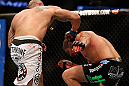 ANAHEIM, CA - FEBRUARY 23:  Lavar Johnson (left) punches Brendan Schaub in their heavyweight bout during UFC 157 at Honda Center on February 23, 2013 in Anaheim, California.  (Photo by Josh Hedges/Zuffa LLC/Zuffa LLC via Getty Images) *** Local Caption *** Brendan Schaub; Lavar Johnson