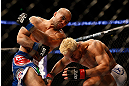 ANAHEIM, CA - FEBRUARY 23:  (L-R) Robbie Lawler punches Josh Koscheck in their welterweight bout during UFC 157 at Honda Center on February 23, 2013 in Anaheim, California.  (Photo by Josh Hedges/Zuffa LLC/Zuffa LLC via Getty Images) *** Local Caption *** Josh Koscheck; Robbie Lawler