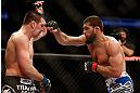 ANAHEIM, CA - FEBRUARY 23:  (R-L) Court McGee punches Josh Neer in their welterweight bout during UFC 157 at Honda Center on February 23, 2013 in Anaheim, California.  (Photo by Josh Hedges/Zuffa LLC/Zuffa LLC via Getty Images) *** Local Caption *** Court McGee; Josh Neer