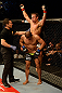 ANAHEIM, CA - FEBRUARY 23:  Urijah Faber (top) reacts to his submission victory over Ivan Menjivar (bottom) in their bantamweight bout during UFC 157 at Honda Center on February 23, 2013 in Anaheim, California.  (Photo by Donald Miralle/Zuffa LLC/Zuffa LLC via Getty Images) *** Local Caption *** Urijah Faber; Ivan Menjivar