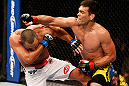 ANAHEIM, CA - FEBRUARY 23:  (R-L) Lyoto Machida punches Dan Henderson in their light heavyweight bout during UFC 157 at Honda Center on February 23, 2013 in Anaheim, California.  (Photo by Josh Hedges/Zuffa LLC/Zuffa LLC via Getty Images) *** Local Caption *** Lyoto Machida; Dan Henderson