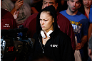 ANAHEIM, CA - FEBRUARY 23:  Ronda Rousey walks to the Octagon to face Liz Carmouche in their women's bantamweight title fight during UFC 157 at Honda Center on February 23, 2013 in Anaheim, California.  (Photo by Josh Hedges/Zuffa LLC/Zuffa LLC via Getty Images) *** Local Caption *** Ronda Rousey; Liz Carmouche