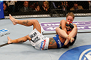 ANAHEIM, CA - FEBRUARY 23:  Ronda Rousey (right) attempts to submit Liz Carmouche in their women's bantamweight title fight during UFC 157 at Honda Center on February 23, 2013 in Anaheim, California.  (Photo by Josh Hedges/Zuffa LLC/Zuffa LLC via Getty Images) *** Local Caption *** Ronda Rousey; Liz Carmouche
