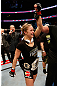 ANAHEIM, CA - FEBRUARY 23:  Ronda Rousey reacts to her victory over Liz Carmouche in their women&#39;s bantamweight title fight during UFC 157 at Honda Center on February 23, 2013 in Anaheim, California.  (Photo by Josh Hedges/Zuffa LLC/Zuffa LLC via Getty Images) *** Local Caption *** Ronda Rousey; Liz Carmouche