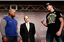 TOKYO, JAPAN - FEBRUARY 28: (L-R) Opponents Mark Hunt and Stefan Struve face off during a UFC press conference at the Hilton Sjinjuku Hotel on February 28, 2013 in Tokyo, Japan. (Photo by Josh Hedges/Zuffa LLC/Zuffa LLC via Getty Images)