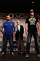 TOKYO, JAPAN - FEBRUARY 28: (L-R) Opponents Mark Hunt and Stefan Struve pose for photos during a UFC press conference at the Hilton Sjinjuku Hotel on February 28, 2013 in Tokyo, Japan. (Photo by Josh Hedges/Zuffa LLC/Zuffa LLC via Getty Images)