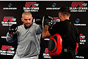 TOKYO, JAPAN - FEBRUARY 28: Mark Hunt holds an open training session for media at the Hilton Sjinjuku Hotel on February 28, 2013 in Tokyo, Japan. (Photo by Josh Hedges/Zuffa LLC/Zuffa LLC via Getty Images)