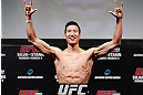 SAITAMA, JAPAN - MARCH 02: Hyun Gyu Lim weighs in during the UFC on FUEL TV weigh-in at Saitama Super Arena on March 2, 2013 in Saitama, Japan. (Photo by Josh Hedges/Zuffa LLC/Zuffa LLC via Getty Images)