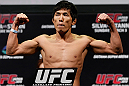 SAITAMA, JAPAN - MARCH 02: Takeya Mizugaki weighs in during the UFC on FUEL TV weigh-in at Saitama Super Arena on March 2, 2013 in Saitama, Japan. (Photo by Josh Hedges/Zuffa LLC/Zuffa LLC via Getty Images)