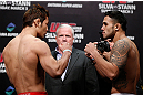SAITAMA, JAPAN - MARCH 02: (L-R) Opponents Riki Fukuda and Brad Tavares face off during the UFC on FUEL TV weigh-in at Saitama Super Arena on March 2, 2013 in Saitama, Japan. (Photo by Josh Hedges/Zuffa LLC/Zuffa LLC via Getty Images)