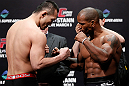SAITAMA, JAPAN - MARCH 02: (L-R) Opponents Yushin Okami and Hector Lombard face off during the UFC on FUEL TV weigh-in at Saitama Super Arena on March 2, 2013 in Saitama, Japan. (Photo by Josh Hedges/Zuffa LLC/Zuffa LLC via Getty Images)