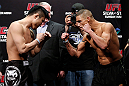 SAITAMA, JAPAN - MARCH 02: (L-R) Opponents Takanori Gomi and Diego Sanchez face off during the UFC on FUEL TV weigh-in at Saitama Super Arena on March 2, 2013 in Saitama, Japan. (Photo by Josh Hedges/Zuffa LLC/Zuffa LLC via Getty Images)