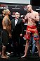 SAITAMA, JAPAN - MARCH 02: (L-R) Opponents Mark Hunt and Stefan Struve face off during the UFC on FUEL TV weigh-in at Saitama Super Arena on March 2, 2013 in Saitama, Japan. (Photo by Josh Hedges/Zuffa LLC/Zuffa LLC via Getty Images)