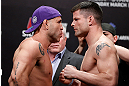 SAITAMA, JAPAN - MARCH 02: (L-R) Opponents Wanderlei Silva and Brian Stann face off during the UFC on FUEL TV weigh-in at Saitama Super Arena on March 2, 2013 in Saitama, Japan. (Photo by Josh Hedges/Zuffa LLC/Zuffa LLC via Getty Images)