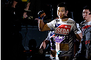SAITAMA, JAPAN - MARCH 03:  Hyun Gyu Lim enters the arena before his welterweight fight against Marcelo Guimaraes during the UFC on FUEL TV event at Saitama Super Arena on March 3, 2013 in Saitama, Japan.  (Photo by Josh Hedges/Zuffa LLC/Zuffa LLC via Getty Images)