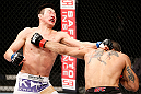 SAITAMA, JAPAN - MARCH 03:  (R-L) Marcelo Guimaraes punches Hyun Gyu Lim in their welterweight fight during the UFC on FUEL TV event at Saitama Super Arena on March 3, 2013 in Saitama, Japan.  (Photo by Josh Hedges/Zuffa LLC/Zuffa LLC via Getty Images)