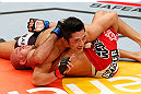 SAITAMA, JAPAN - MARCH 03:  (L-R) Dong Hyun Kim smiles at his corner during his welterweight fight against Siyar Bahadurzada during the UFC on FUEL TV event at Saitama Super Arena on March 3, 2013 in Saitama, Japan.  (Photo by Josh Hedges/Zuffa LLC/Zuffa LLC via Getty Images)