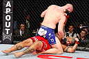SAITAMA, JAPAN - MARCH 03:  (L-R) Stefan Struve punches Mark Hunt in their heavyweight fight during the UFC on FUEL TV event at Saitama Super Arena on March 3, 2013 in Saitama, Japan.  (Photo by Josh Hedges/Zuffa LLC/Zuffa LLC via Getty Images)