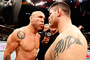 SAITAMA, JAPAN - MARCH 03:  (L-R) Opponents Wanderlei Silva and Brian Stann face off before their light heavyweight fight during the UFC on FUEL TV event at Saitama Super Arena on March 3, 2013 in Saitama, Japan.  (Photo by Josh Hedges/Zuffa LLC/Zuffa LLC via Getty Images)