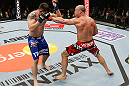 SAITAMA, JAPAN - MARCH 03:  (R-L) Wanderlei Silva punches Brian Stann in their light heavyweight fight during the UFC on FUEL TV event at Saitama Super Arena on March 3, 2013 in Saitama, Japan.  (Photo by Josh Hedges/Zuffa LLC/Zuffa LLC via Getty Images)
