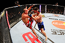 SAITAMA, JAPAN - MARCH 03:  (L-R) Wanderlei Silva knees Brian Stann in their light heavyweight fight during the UFC on FUEL TV event at Saitama Super Arena on March 3, 2013 in Saitama, Japan.  (Photo by Josh Hedges/Zuffa LLC/Zuffa LLC via Getty Images)