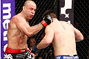 SAITAMA, JAPAN - MARCH 03:  (L-R) Wanderlei Silva punches Brian Stann in their light heavyweight fight during the UFC on FUEL TV event at Saitama Super Arena on March 3, 2013 in Saitama, Japan.  (Photo by Josh Hedges/Zuffa LLC/Zuffa LLC via Getty Images)